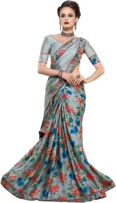 Zemi Floral Print Fashion Satin Sari