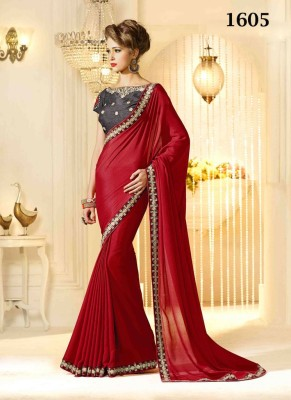 Ruaab Fashion Solid Fashion Chiffon Sari