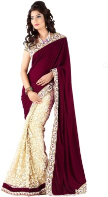 Fashion on sky Embriodered Bollywood Velvet Sari