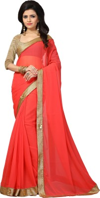 Indianbeauty Embroidered Fashion Georgette Saree(Pink) at flipkart