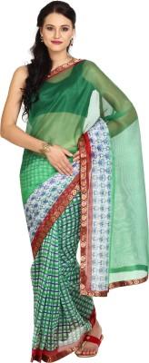 Parchayee Checkered Fashion Net Saree(Green) at flipkart