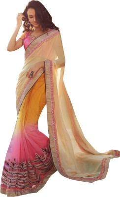 Brijraj Embriodered Fashion Satin, Chiffon, Net Sari