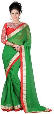 J AND J FASHION Embriodered Fashion Chiffon Sari