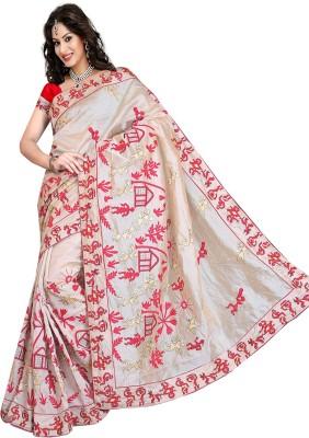 N Paraswanath Embriodered Assam Silk Handloom Silk Sari