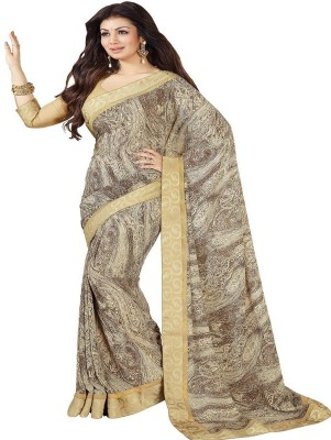 Z HOT FASHION Geometric Print Fashion Georgette Sari