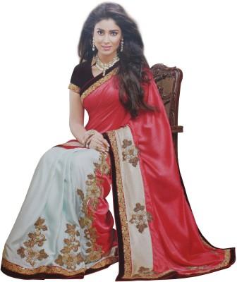 SAHAJ Embellished Fashion Raw Silk, Satin Sari