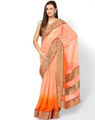 Lime Fashion Solid Fashion Georgette Sari