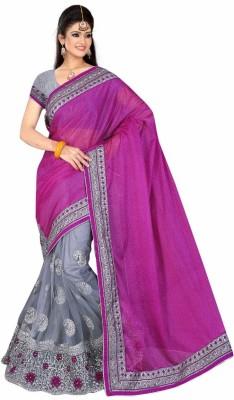 jay ambe fashion Solid Fashion Satin Sari