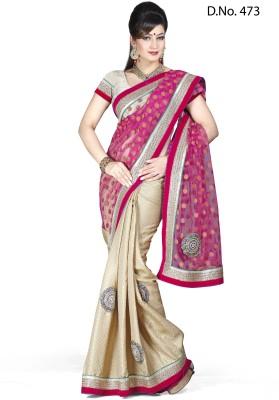 Maruti Fashion Solid Bollywood Jacquard Sari