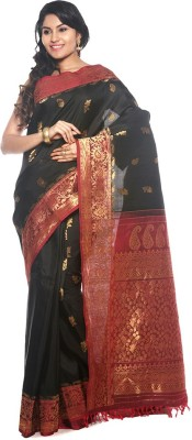 BlackBeauty Woven Gadwal Handloom Pure Silk Saree(Black, Red) at flipkart