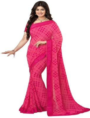 Z HOT FASHION Checkered Fashion Georgette Sari