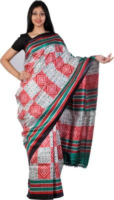 PriyanjaliBoutique Printed Bhagalpuri Handloom Dupion Silk Sari