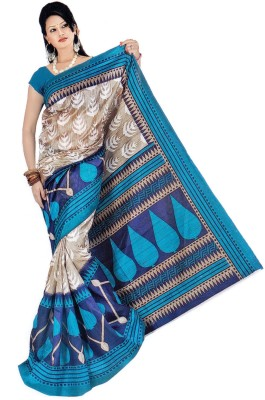 Raj Creative Graphic Print Bhagalpuri Handloom Silk Sari