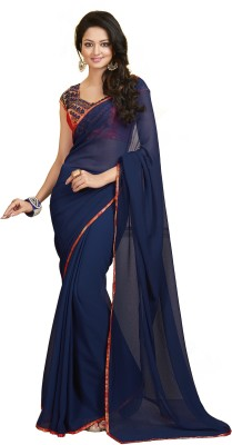 Palav Fabrics Solid Fashion Chiffon Sari