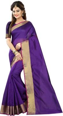 Go4Fashion Self Design Fashion Cotton, Silk Saree(Purple) at flipkart