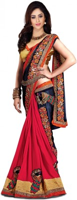 Pragati Fashion Hab Embroidered Fashion Georgette Sari(Red)