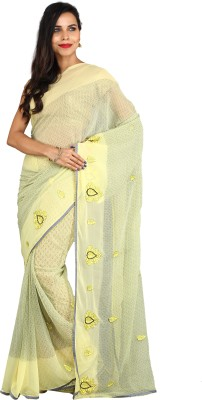 Aryahi Printed Daily Wear Chiffon Saree(Yellow) at flipkart