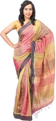Slice of Bengal Woven, Striped Fashion Handloom Cotton, Silk Sari