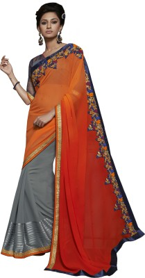 The Ethnic Chic Embriodered Fashion Georgette Sari