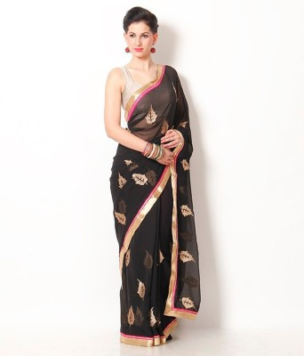 AVR FASHIONS Embriodered Fashion Synthetic Chiffon Sari