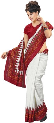 Nanda Silk Mills Printed Fashion Silk Cotton Blend, Jacquard Sari