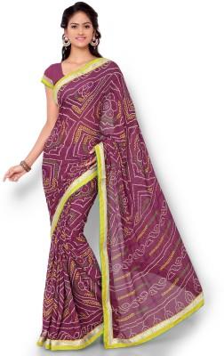Dewberry Printed Bandhani Synthetic Crepe Sari
