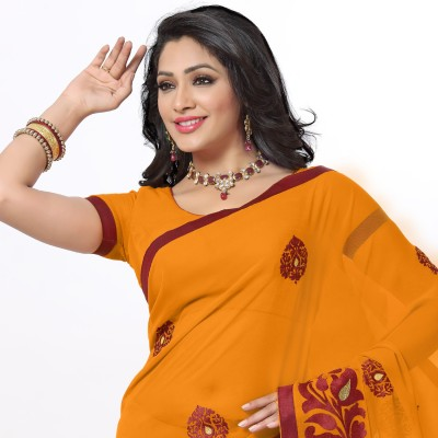 Arjuns Solid, Embriodered Daily Wear Chiffon Sari