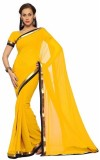 JDX Solid Bollywood Georgette Saree (Yel...