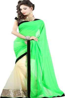 Sanju Sarees Solid Bollywood Georgette Saree(Green) at flipkart