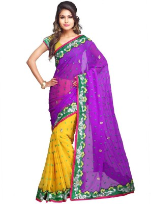 Vinayak Creation Embriodered Daily Wear Chiffon Sari