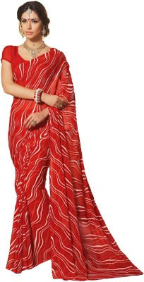 DESIGN WILLA Printed Leheria Chiffon Saree(Red) at flipkart