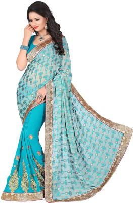 Blissta Embriodered, Printed Fashion Georgette, Brasso Sari
