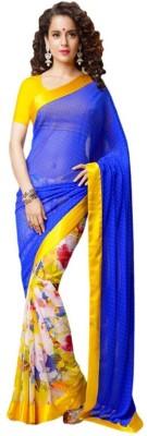The Designer House Floral Print Bollywood Chiffon Sari