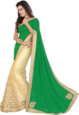 Jhenny Fabrics Embriodered Fashion Handloom Georgette, Net Sari