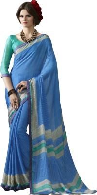 Triveni Printed Fashion Chiffon, Satin Saree(Blue) at flipkart