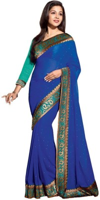 Indian Pahnaav Striped Bollywood Handloom Synthetic Georgette Sari