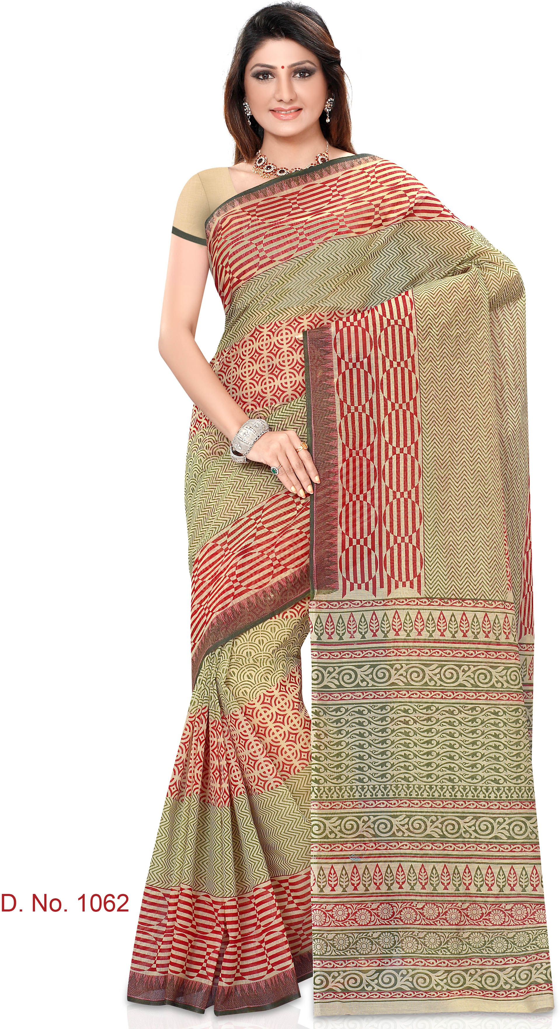 Indianbeauty Striped, Printed Fashion Cotton Sari(Beige, Red)