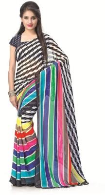 Gini Gold Striped Bollywood Raw Silk Sari