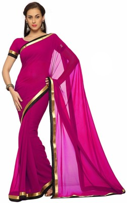 Wowcreation Solid Daily Wear Handloom Chiffon Sari