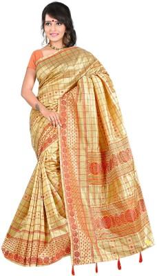 Moon Sarees Self Design, Checkered Manipuri Handloom Silk Sari