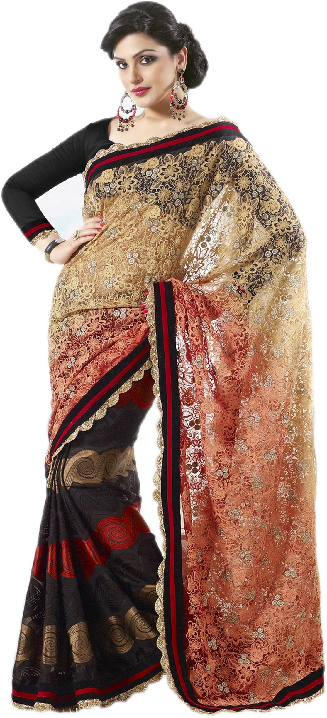 Rudraksh Fashion Embriodered Bollywood Net Sari