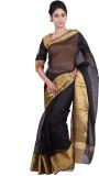 Geroo Solid Fashion Kota Silk Saree (Bla...
