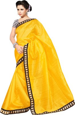 Mahalaxmi Fashion Plain Bollywood Handloom Art Silk Sari