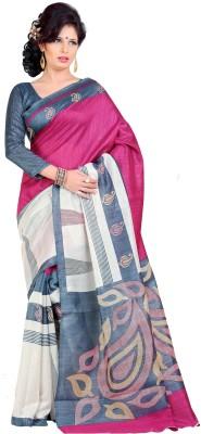 Gugaliya Printed Bollywood Art Silk Saree(Beige, Grey, Maroon) at flipkart