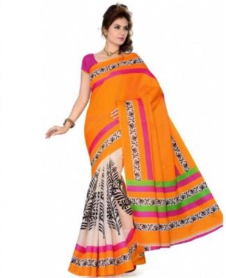 Lime Fashion Floral Print Bhagalpuri Handloom Art Silk Sari