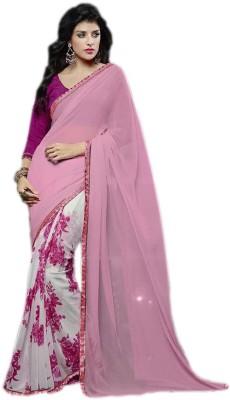 KL COLLECTION Floral Print, Plain Fashion Lycra Sari