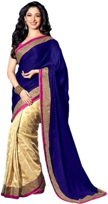 BlueGene Self Design Bollywood Handloom Silk, Brasso, Lace Sari