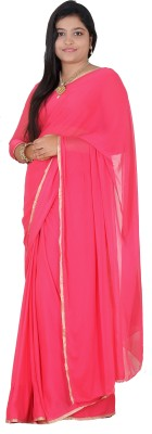 Fashion Crush Plain Daily Wear Synthetic Chiffon Sari