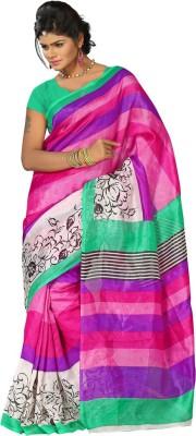 Punam Fashion Floral Print Bollywood Printed Silk Sari