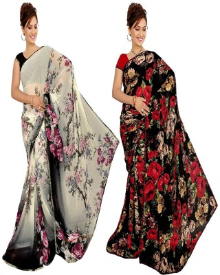 Varsha Sarees Floral Print Daily Wear Synthetic Georgette Sari